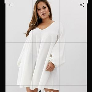 ASOS Curve White Textured Mini Swing Dress